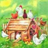 Servetel decorativ 'Lovely chicken farm', 33cm