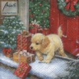 Servetel decorativ 'Xmas puppy', 25cm