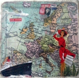 Servetel decorativ 'Travel to Europe', 33cm