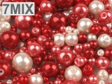 Set de margele, imitatie perla, 'Red-mix', 100g