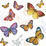 Servetel decorativ 'Colourful butterflies', 33cm