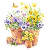 Servetel decorativ 'Pansies in a pot', 33cm