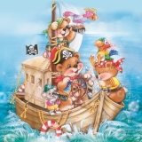 Servetel decorativ 'Pirates ship', 33cm