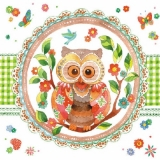 Servetel decorativ 'Signed owl', 25cm