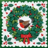 Servetel decorativ 'Robin on a wreath', 33cm