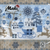 Servetel decorativ 'Blue Xmas', 33cm