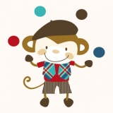 Servetel decorativ 'Juggling monkey', 33cm