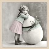 Servetel decorativ 'Easter girl', 33cm