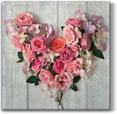 Servetel decorativ 'Rose heart', 33cm