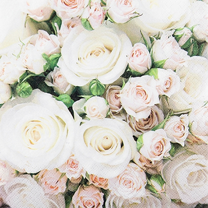 Servetel decorativ 'Wedding roses', 25cm