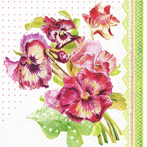 Servetel decorativ 'Painted pansy', 33cm