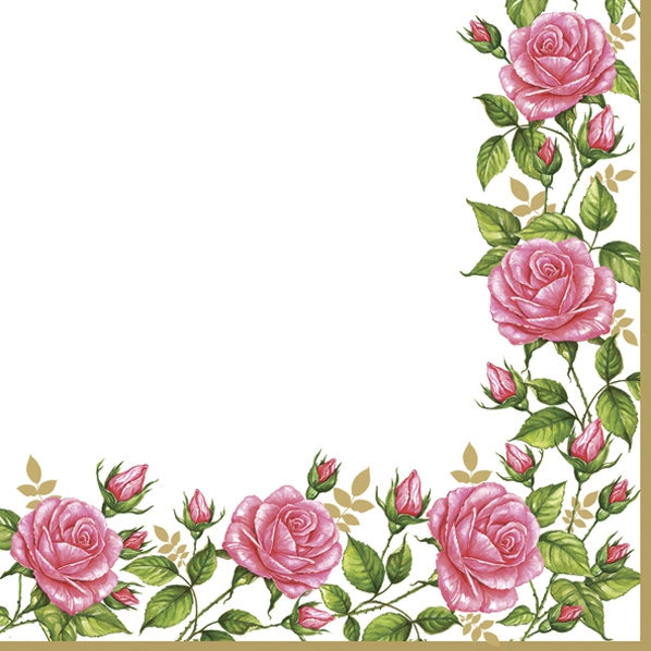 Servetel decorativ 'Rose border', 33cm