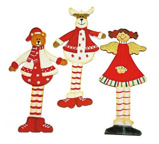 Set de 3 decoratiuni din lemn 'Xmas trio', 10cm