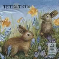 Servetel decorativ 'Bunnies in the grass',33cm