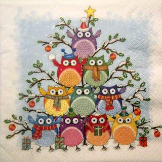 Servetel decorativ 'Tree of owls', 33cm