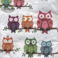 Servetel decorativ 'Colourful owls', 33cm
