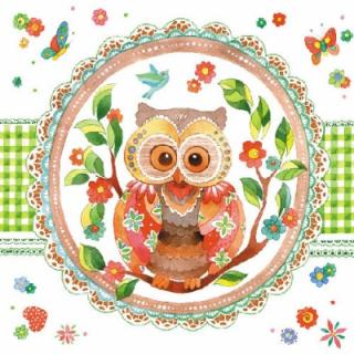 Servetel decorativ 'Signed owl', 33cm