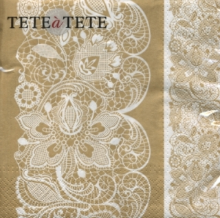 Servetel decorativ  'Lace gold', 33cm