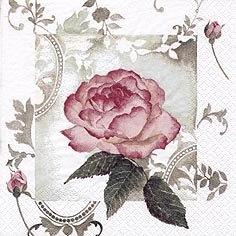 Servetel decorativ 'Enchanting vintage rose'', 25cm