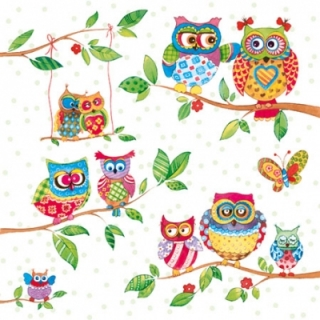 Servetel decorativ 'Owls in summerland', 25cm