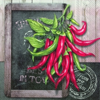 Servetel decorativ 'Fresh chili', 33cm