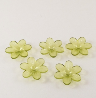 Set de 5 flori din plastic, verde-mar transparent, 26mm