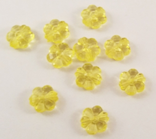 Set de 10 margele in forma de floare, galben-transparent, 10mm